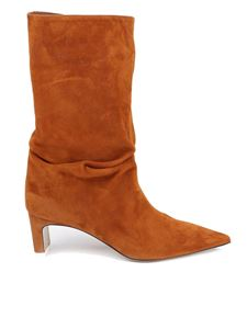 The Attico - Pointed toe suede boots in camel color