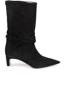 The Attico - Pointed toe suede boots in black