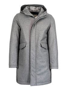 Herno - Wool-cashmere hooded coat in grey