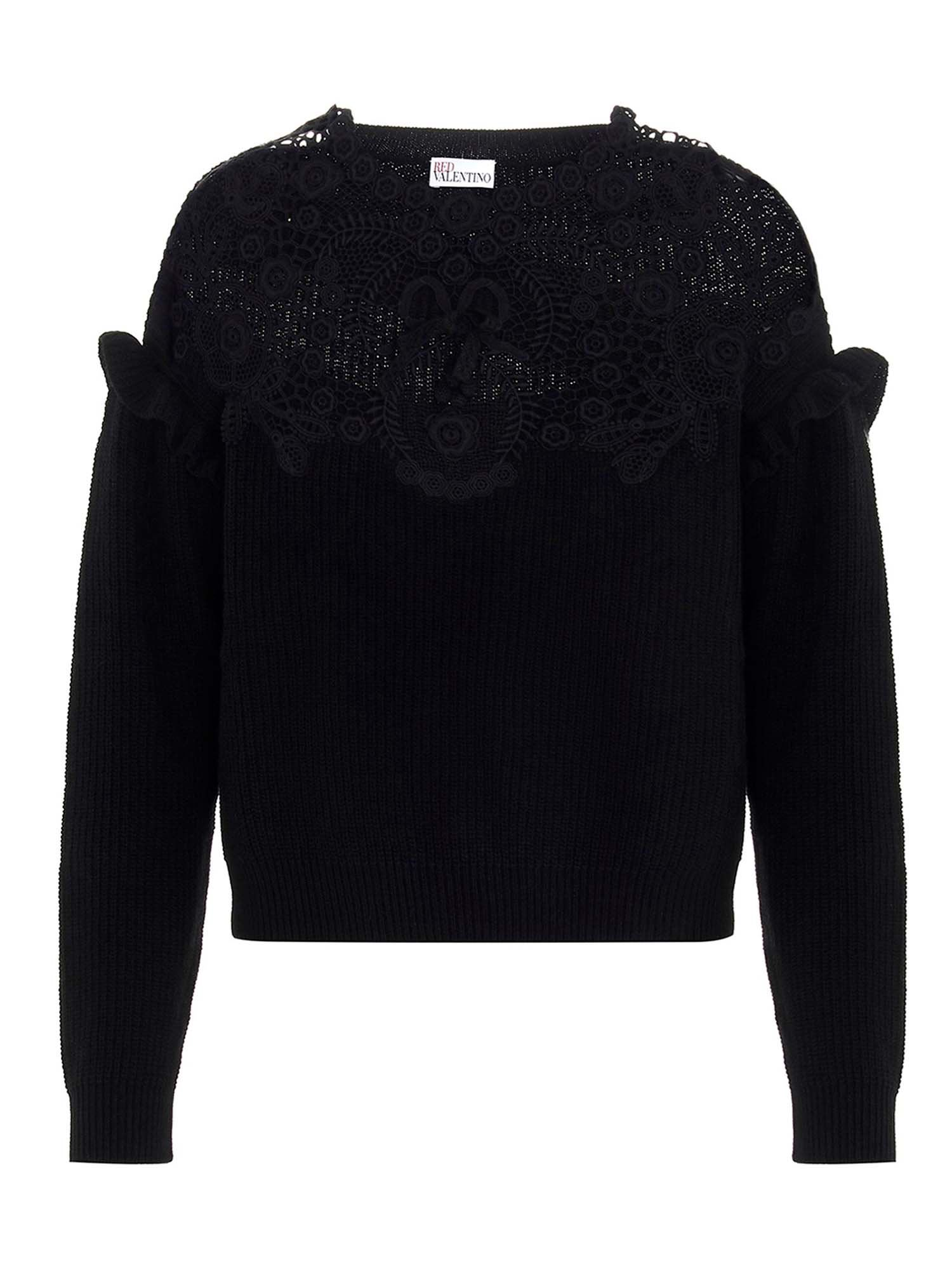 Red Valentino LACE INSERTS PULLOVER IN BLACK