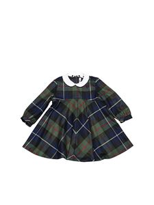 Il Gufo - Tartan dress in green and blue