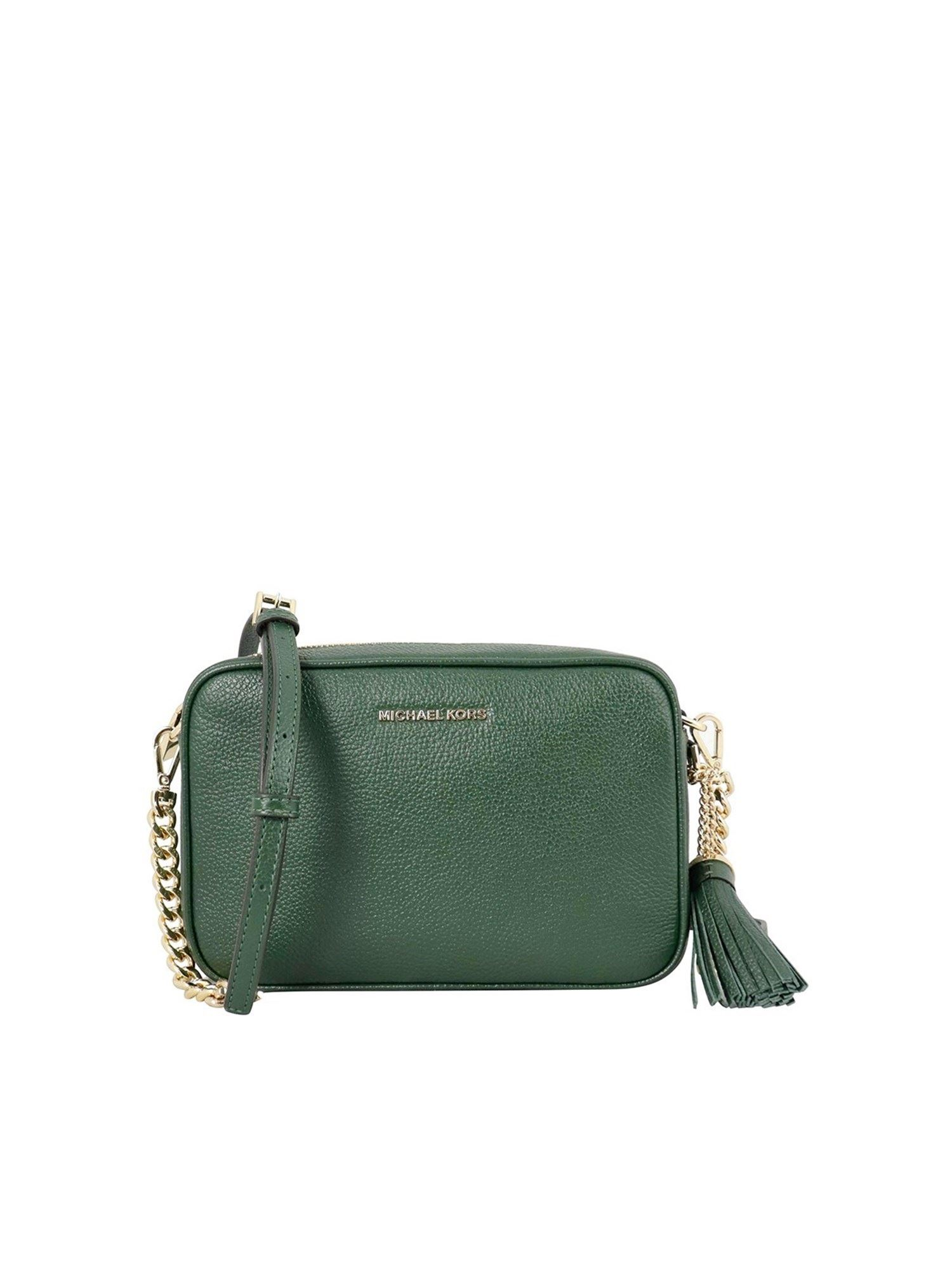 Michael Kors GINNY LEATHER CROSS BODY BAG IN GREEN