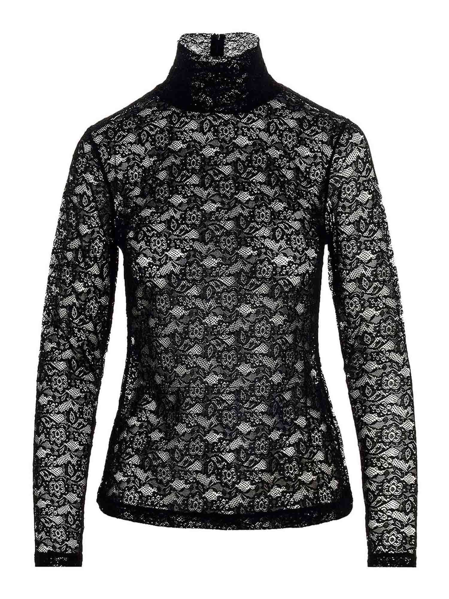 Red Valentino HIGH NECK LACE BLOUSE IN BLACK