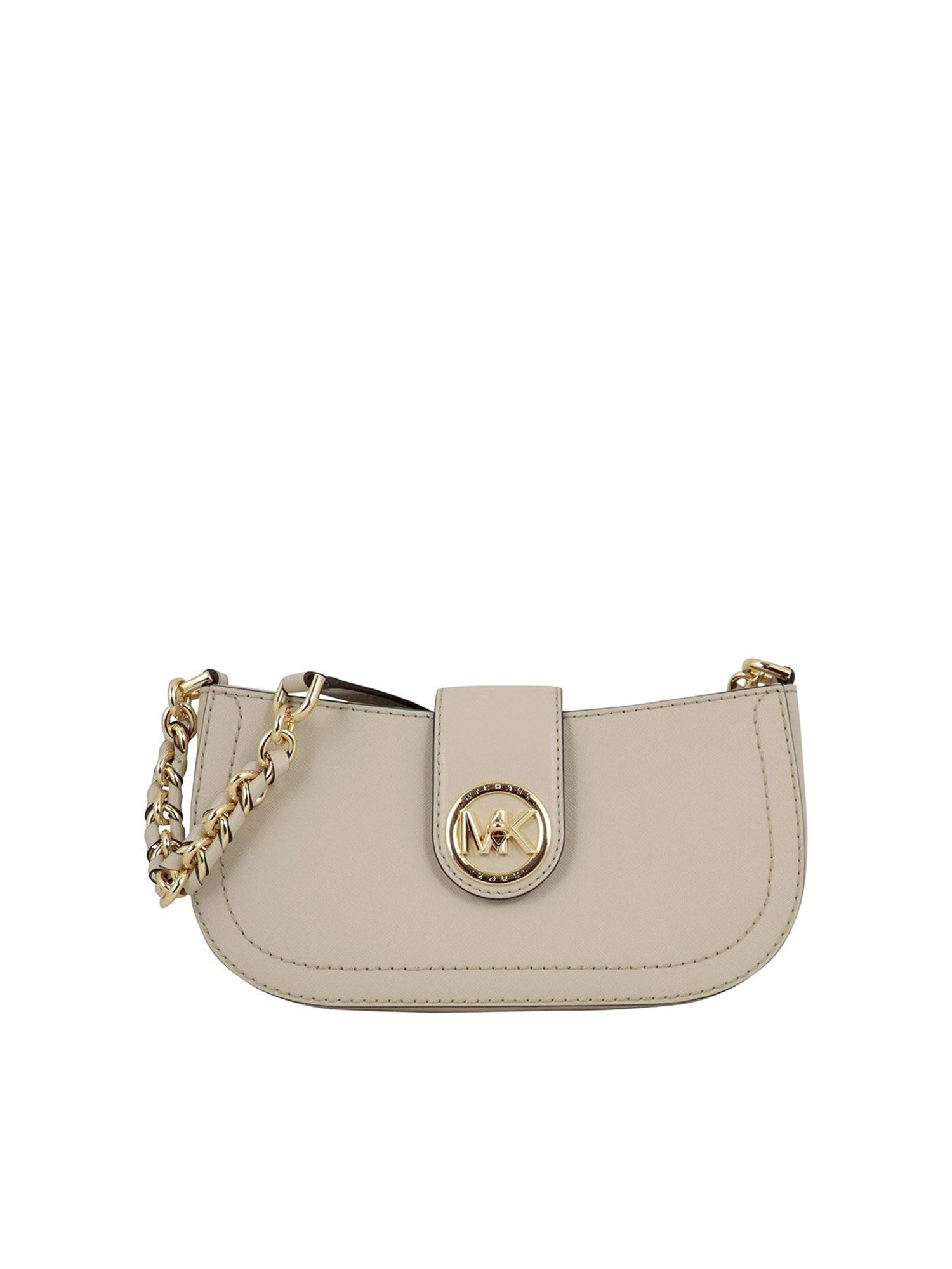Michael Kors CARMEN XS SAFFIANO LEATHER SHOULDER BAG IN GREY