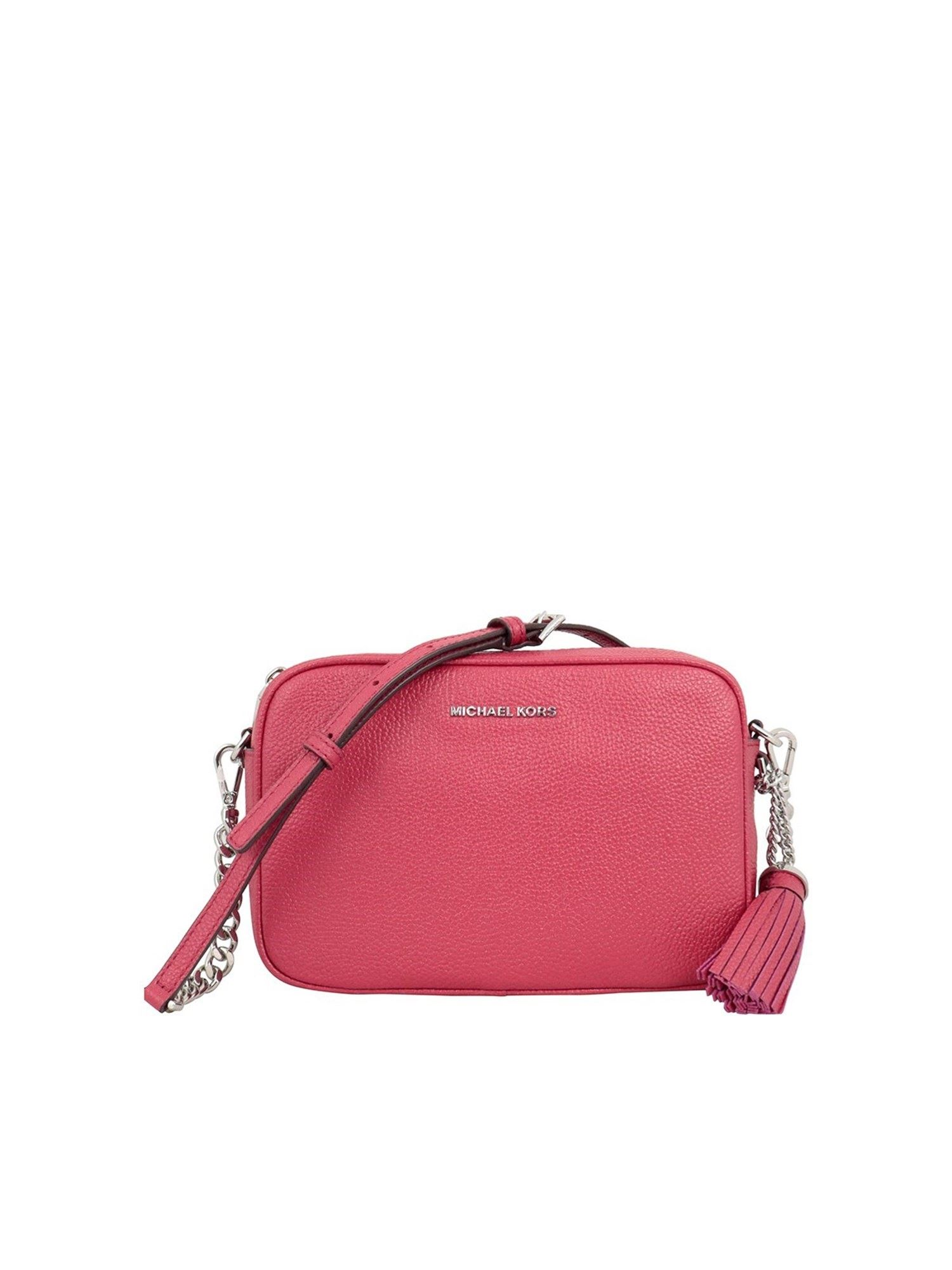 Michael Kors GINNY LEATHER CROSS BODY BAG IN PINK