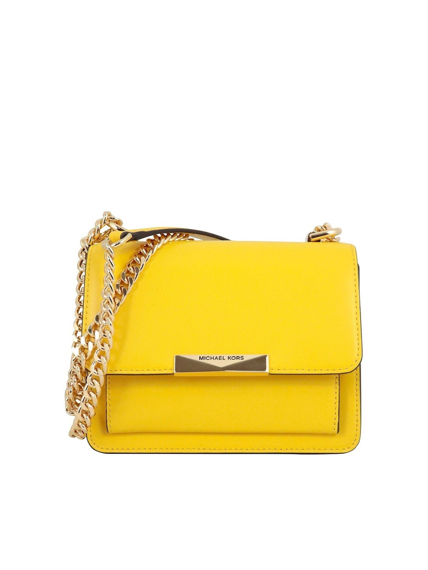 Michael Kors JADE XS GRAINY LEATHER CROSS BODY BAG IN YELLOW