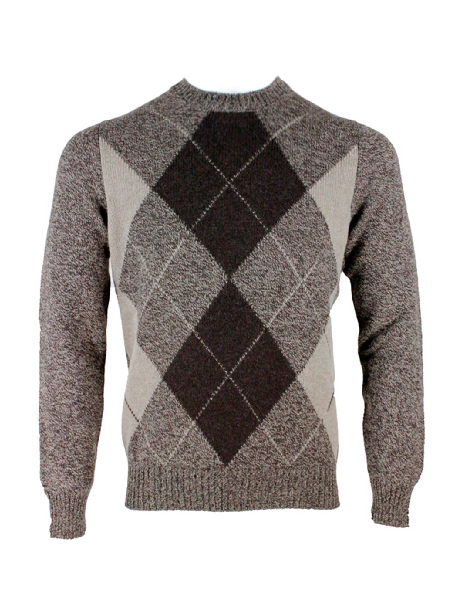 Barba DIAMOND PATTERN PULLOVER IN BROWN