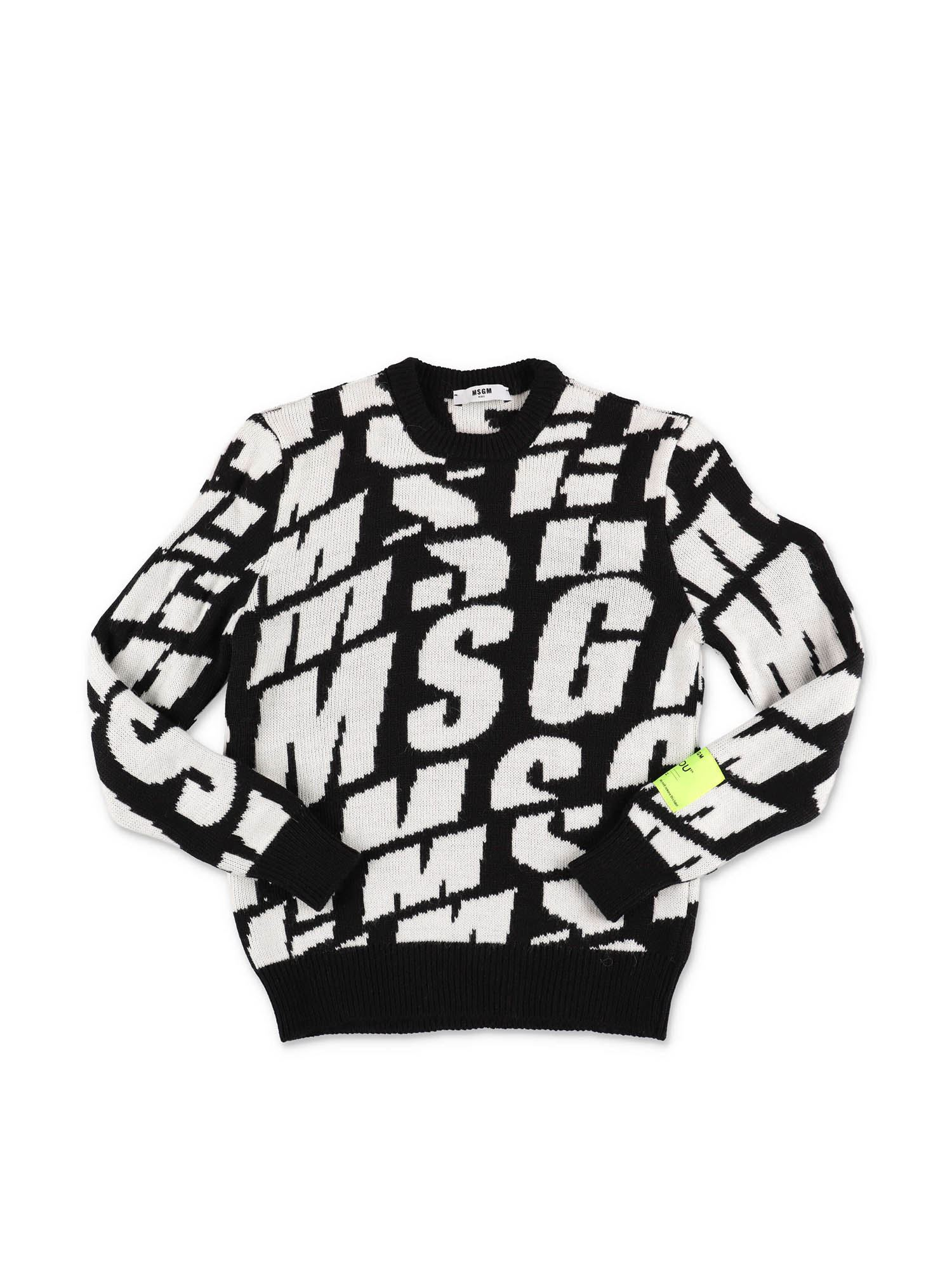 Msgm BLACK SWEATSHIRT WITH LOGO