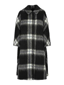 Red Valentino - Checked wool coat in black