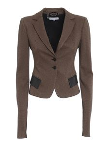 Patrizia Pepe - Blazer con pattine in ecopelle beige
