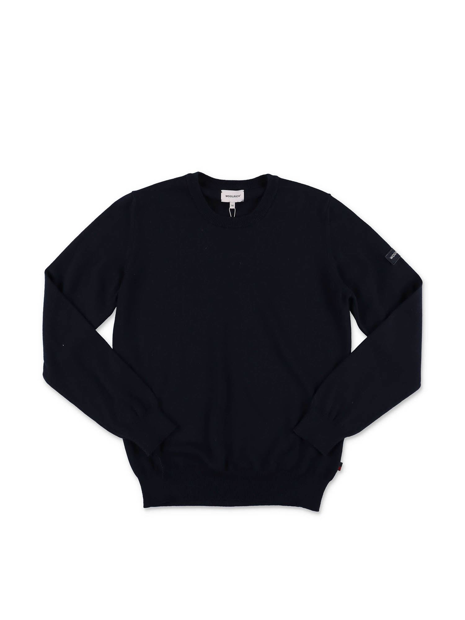 Woolrich BLUE SWEATER WITH LOGO