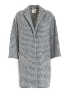 Semicouture - Fringed edges coat in light blue
