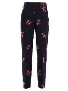 Red Valentino - Straight floral pants in black