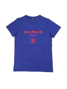 Balmain - Logo print T-shirt in blue and red