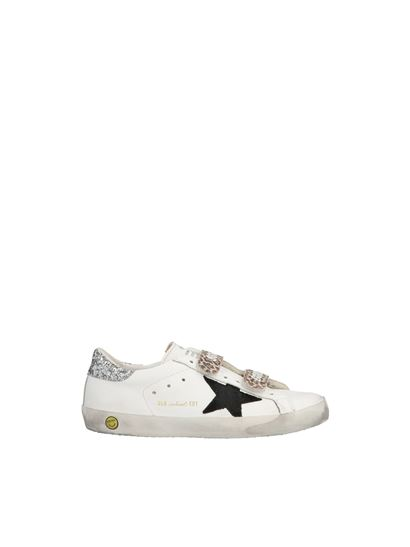 Golden Goose - Old school sneakers in white and glitter