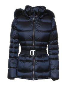 Colmar Originals - Quilted downjacket with faux fur in blue