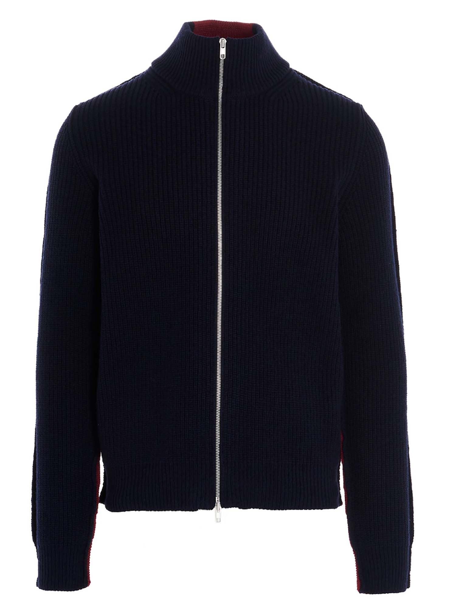 Maison Margiela TWO-TONE ZIP CARDIGAN IN BLUE AND RED