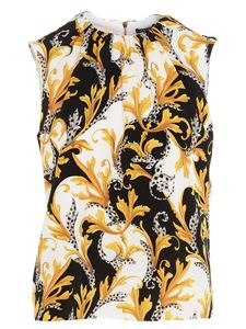 Versace - Barocco print top in black and yellow