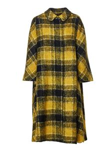 Red Valentino - Long checked coat in yellow and black