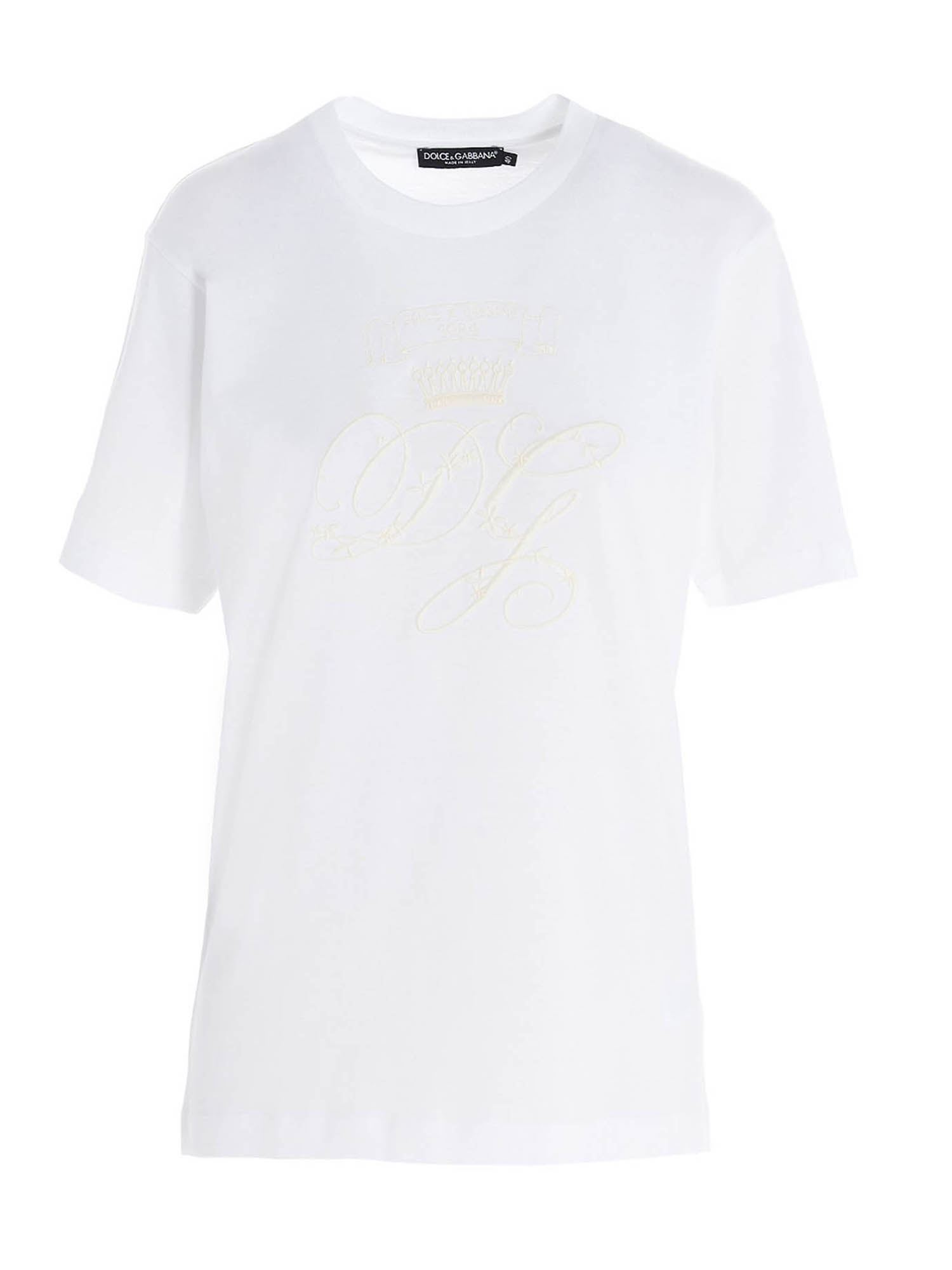 Dolce & Gabbana EMBROIDERED LOGO T-SHIRT IN WHITE