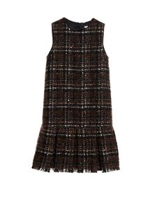 Dolce & Gabbana Jr - Lamé tweed short dress in brown