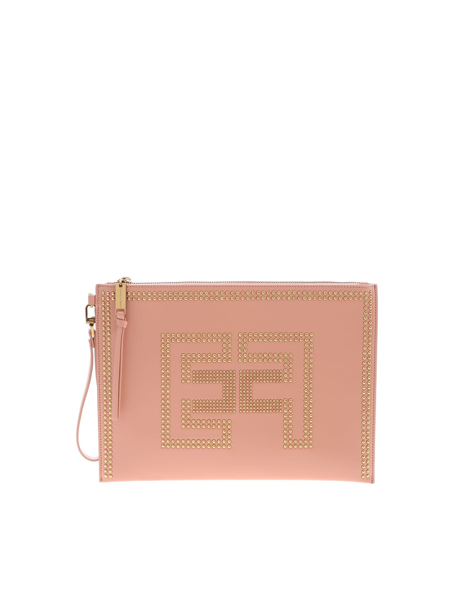 Elisabetta Franchi LOGO CLUTCH BAG IN PINK