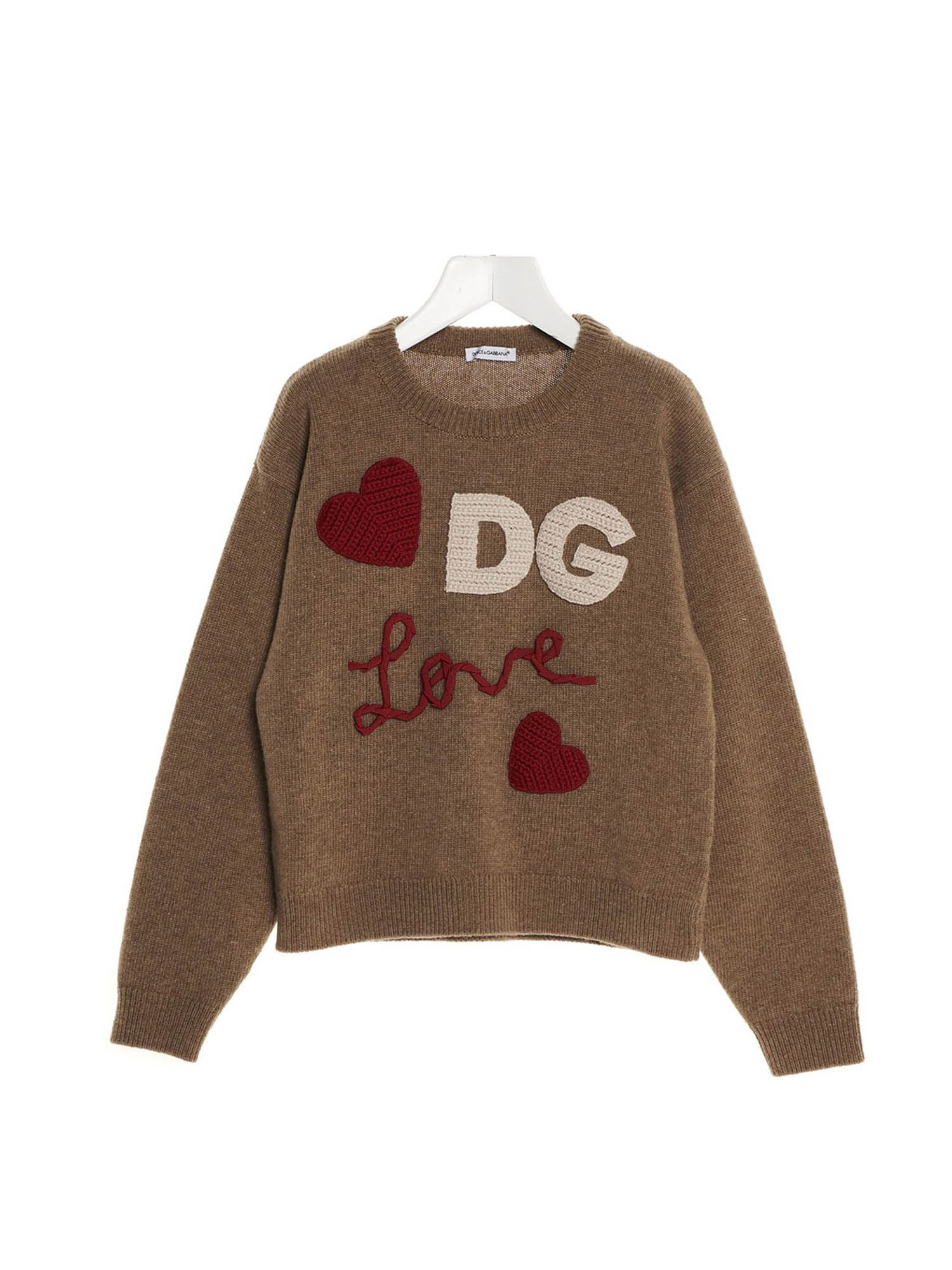 Dolce & Gabbana Jr DG LOVE PATCH PULLOVER IN BROWN