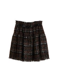 Dolce & Gabbana Jr - Gonna corta in tweed lamè marrone