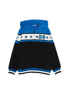 Dolce & Gabbana Jr - Stars sweatshirt with hood and zip in blue