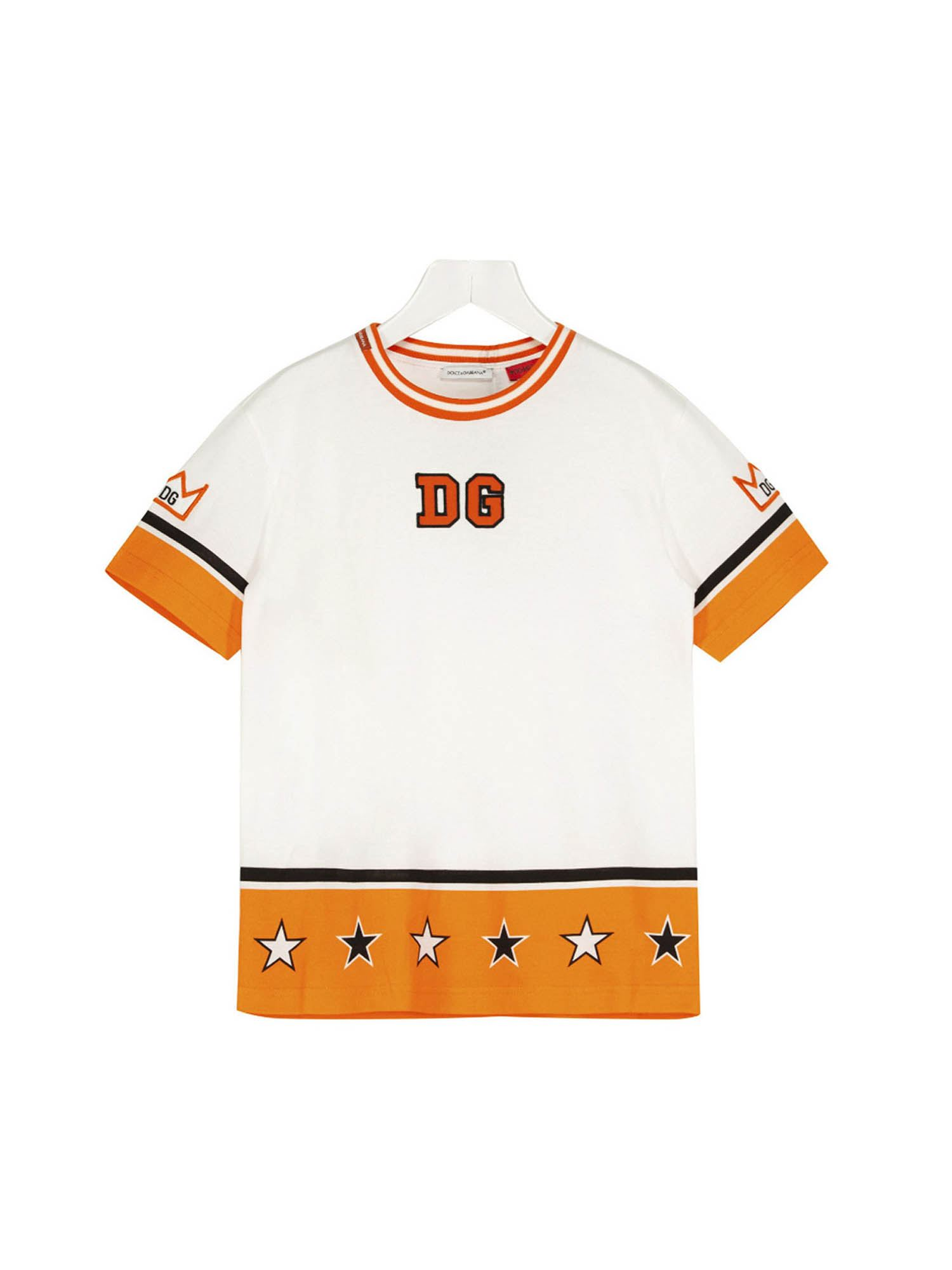 Dolce & Gabbana Jr Cottons DG ROYALS T-SHIRT IN WHITE AND YELLOW