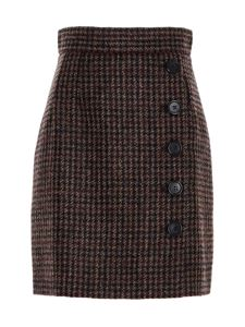 Dolce & Gabbana - Short houndstooth skirt in brown