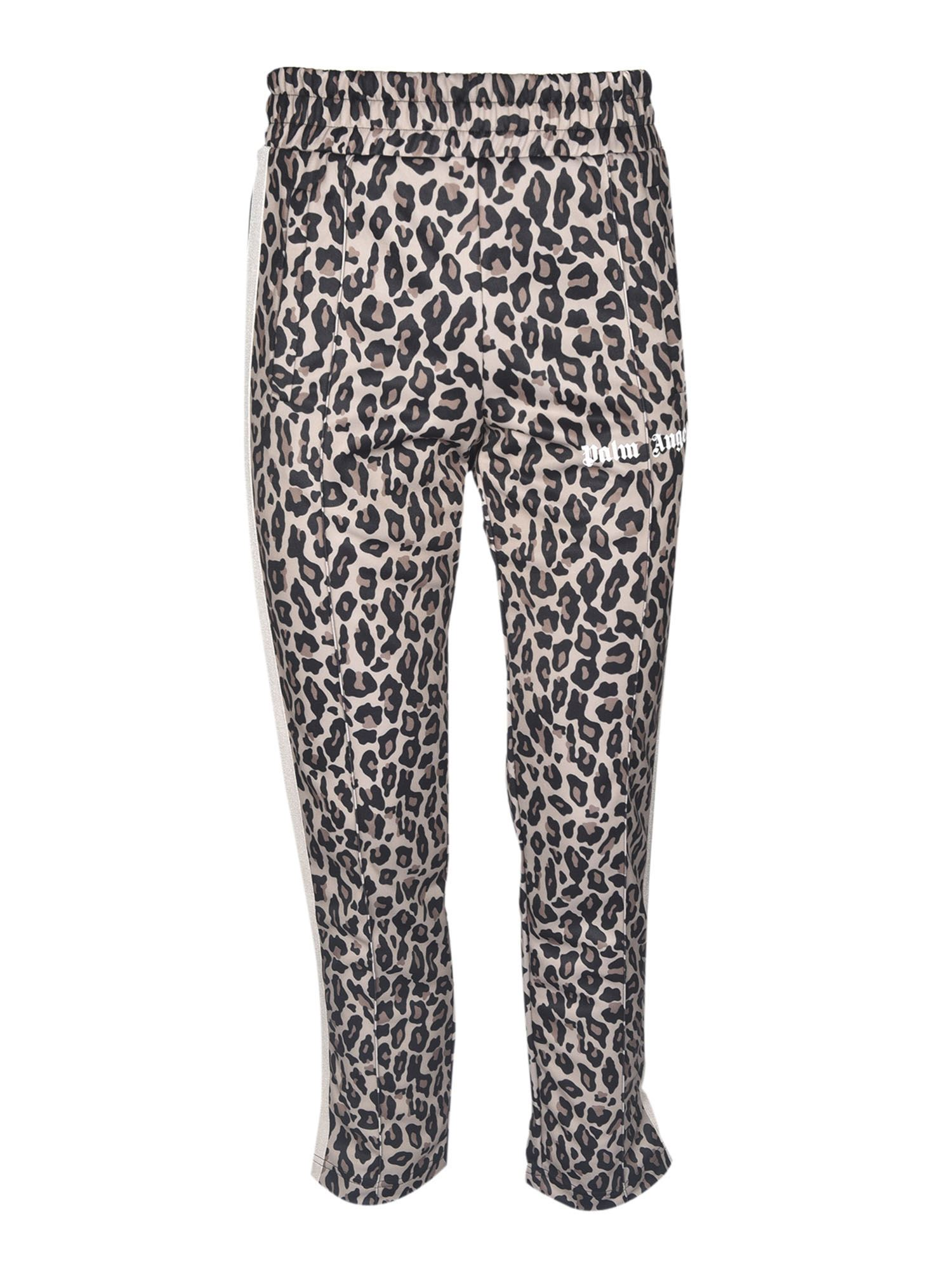 Palm Angels LEOPARD TRACK PANTS IN YELLOW WHITE
