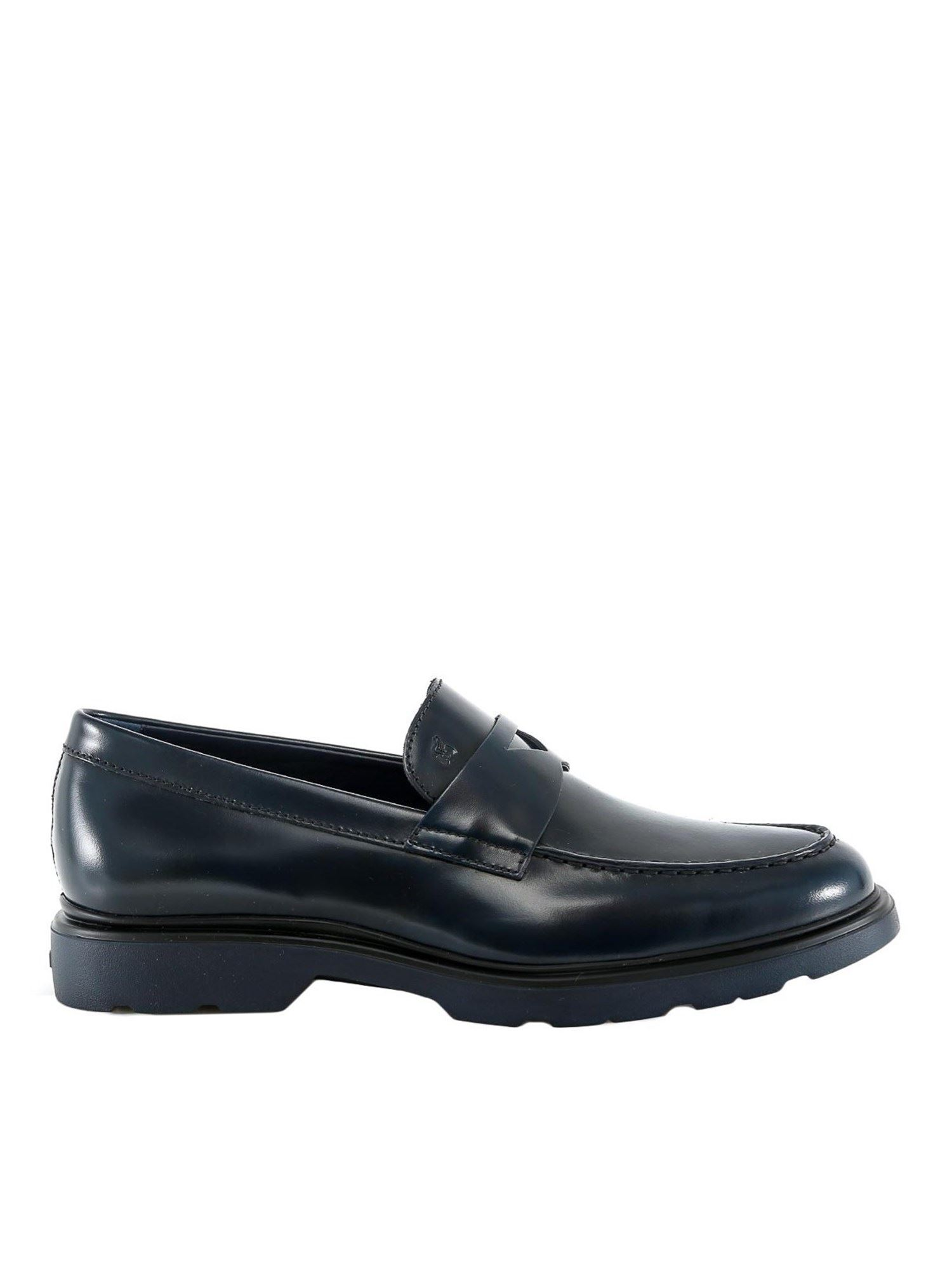 Hogan BLUE LEATHER LOAFERS