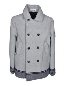 Stone Island - Panno Jacquard peacoat in butter color