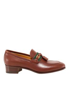 Gucci - Smooth leather heeled loafers