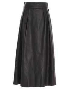 Dolce & Gabbana - Full skirt in plongé lambskin in brown