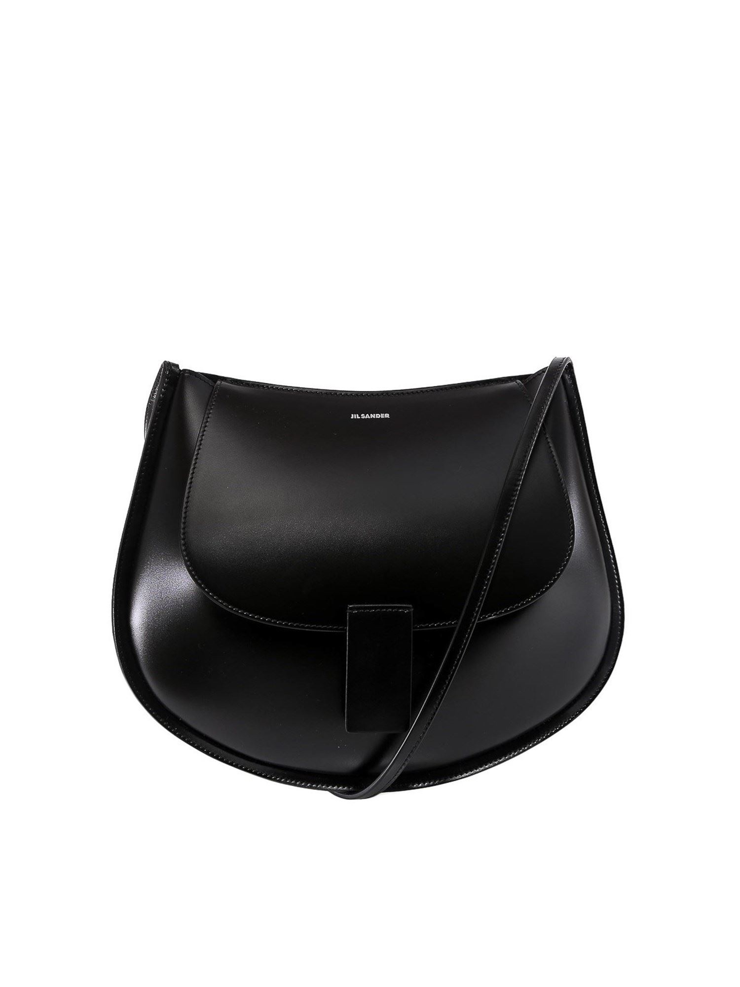 JIL SANDER SMOOTH LEATHER CRESCENT CROSS BODY BAG