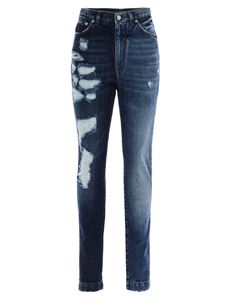 Dolce & Gabbana - Worn effect skinny jeans in blue