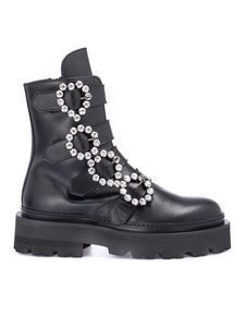 John Richmond - Strass buckle combat boots