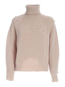 Ermanno by Ermanno Scervino - Beads and rhinestone turtleneck in beige