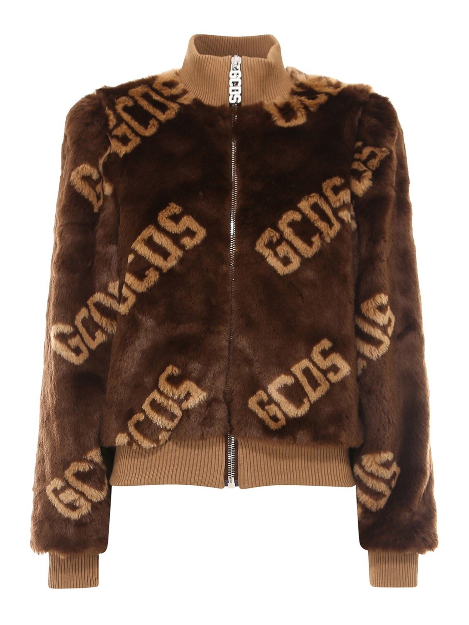 GCDS ALL OVER LOGO FAUX FUR JACKET