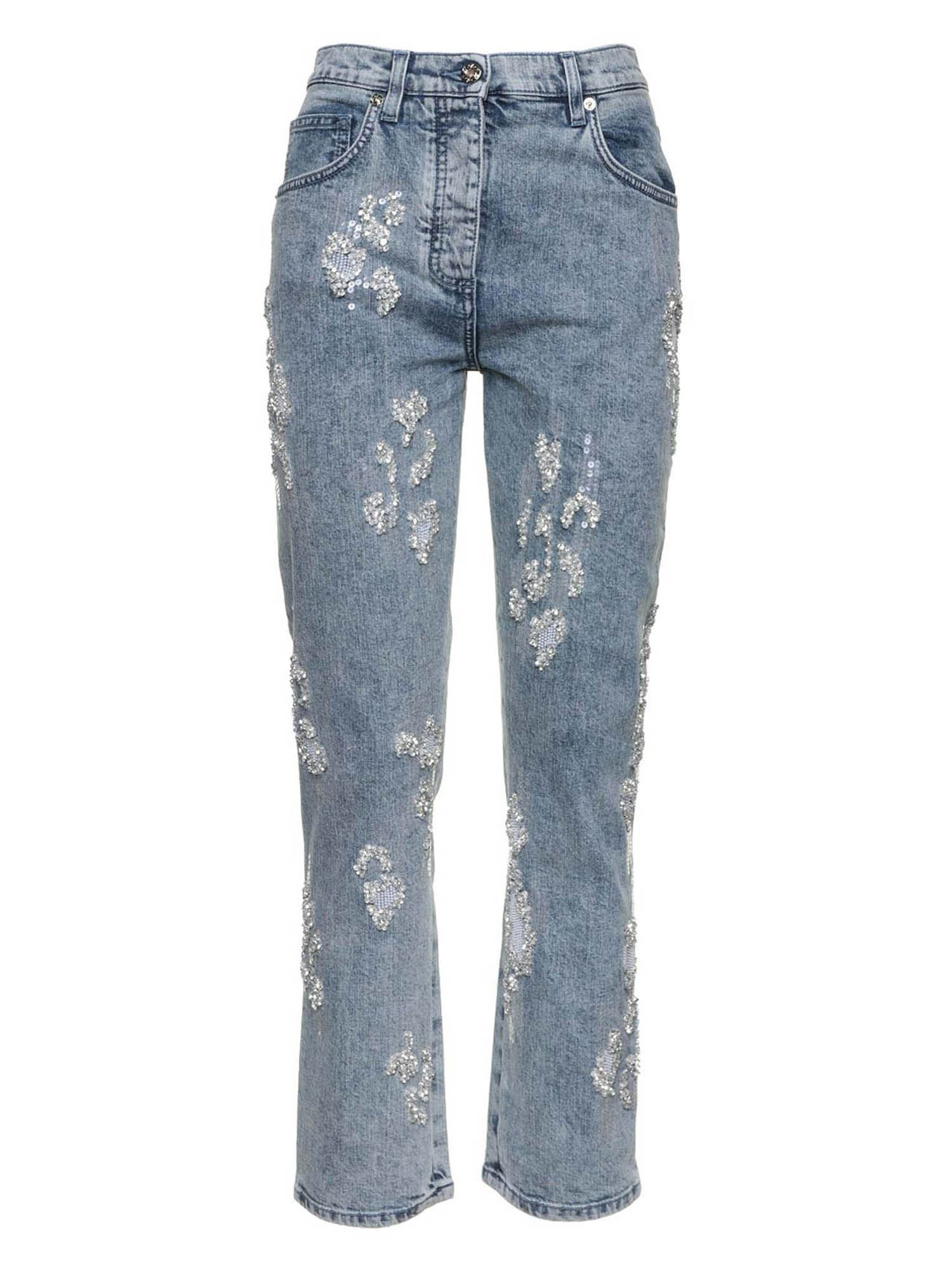 Blumarine RIPPED JEANS IN LIGHT BLUE
