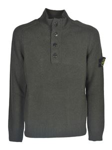 Stone Island - Logo patch pullover in green