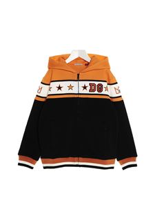 Dolce & Gabbana Jr - Hooded and zipped Stars sweatshirt in orange