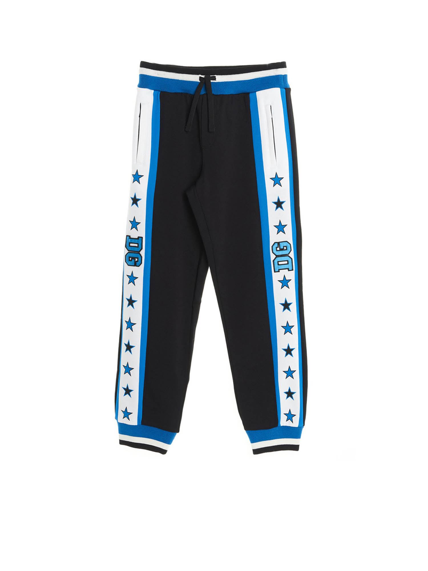 Dolce & Gabbana Jr Cottons DG STARS PANTS IN BLUE AND BLACK