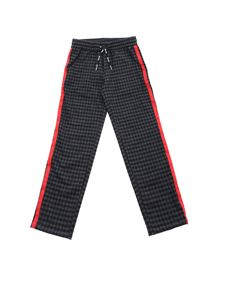MSGM Kids - Checked pattern pants in grey and black