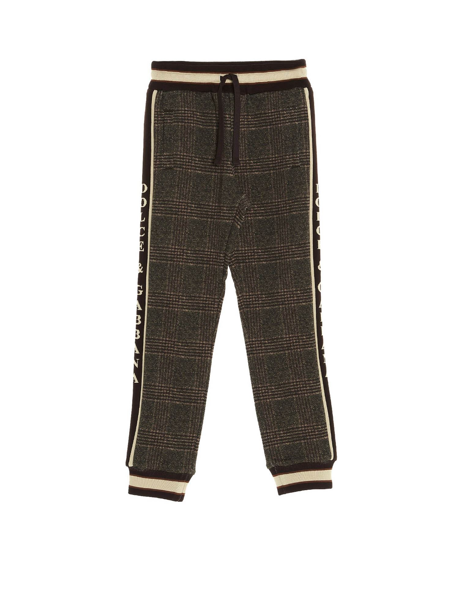 Dolce & Gabbana Jr Cottons CHECKED JOGGING PANTS IN BROWN