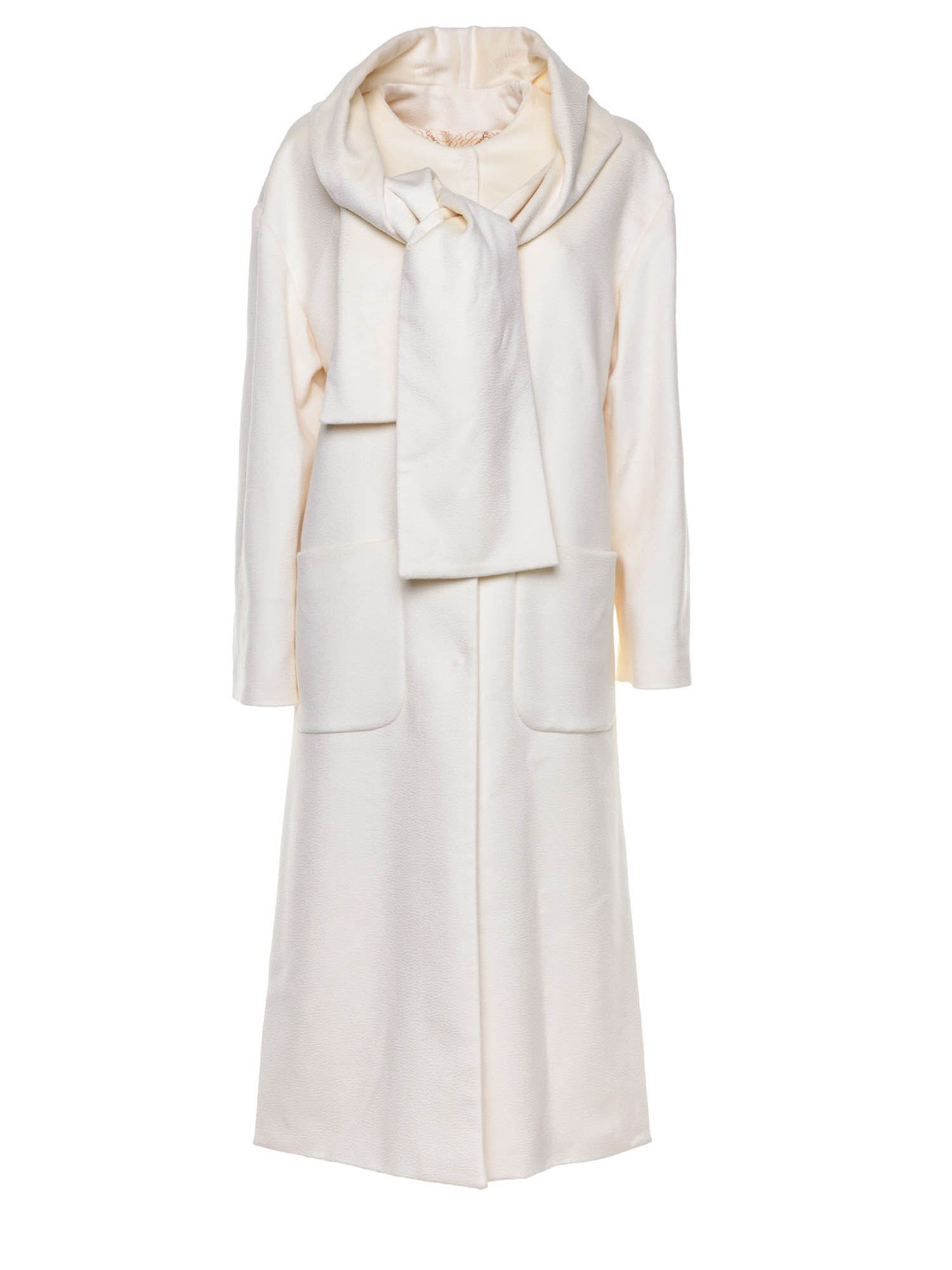 Blumarine SCARF COLLAR COAT IN IVORY COLOR