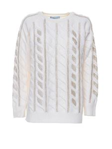 Blumarine - Lame detailed sweater in white