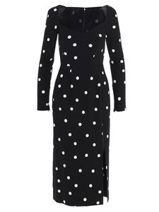 Dolce & Gabbana - Polka dot dress with slit in black